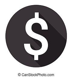 お金, 印, ドル, 網, アイコン