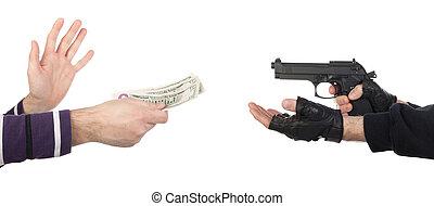 お金, 取得, 強盗, 銃, 犠牲者