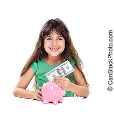 お金, 女の子, パッティング, 貯金箱