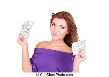 お金, 女, 若い, 手を持つ