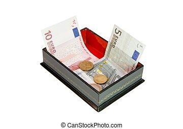 お金, 小箱, 緑, 隔離された, ユーロ