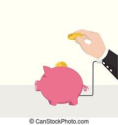 お金, 小豚, 充電器