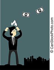 お金, 怒る, 飛行, イラスト, ベクトル, ビジネスマン, 離れて