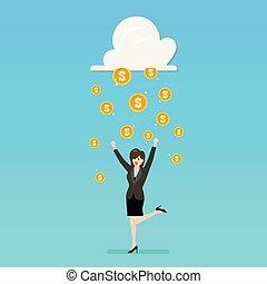 お金, 成功, 女, 雨, ビジネス, 雲