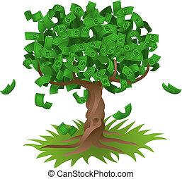 お金, 成長する, 上に, 木