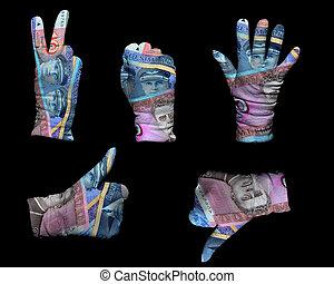 お金, 手袋