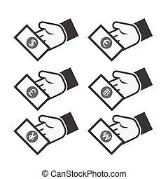 お金, -, 手, ドル, アイコン, ユーロ