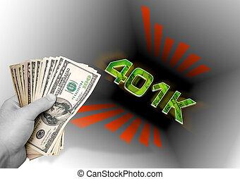 お金, 投げる, 401k