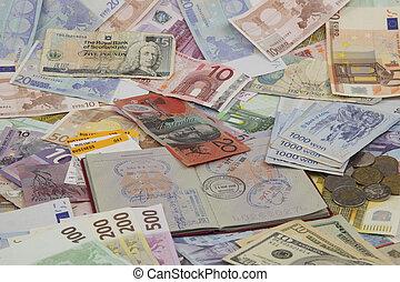 お金, 旅行, パスポート, 背景