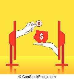 お金, 概念, デザイン, セービング