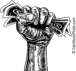 お金, 概念, 握りこぶし, 保有物