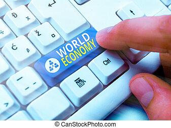 お金, 概念, economy., 世界, 印, 世界的に, インターナショナル, exchange., 取引しなさい, 市場, テキスト, 写真, 提示, 世界的である