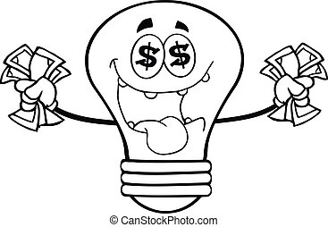 お金, 概説された, 電球, ライト, 情事