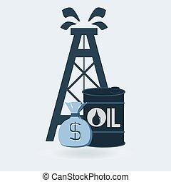 お金, 樽, オイルの デリック, 袋
