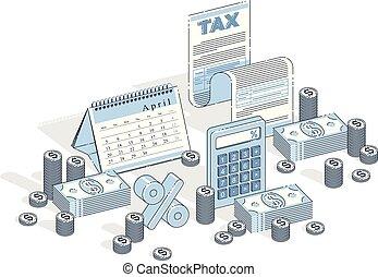 お金, 税, ペーパー, カレンダー, design., 等大, ビジネス 概念, 隔離された, 法的, ...