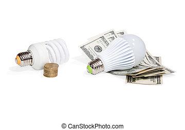 お金, 端, ランプ, energy-saving