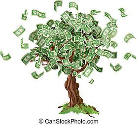 お金, 節約, 木
