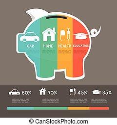 お金, 計画, セービング, template., infographics