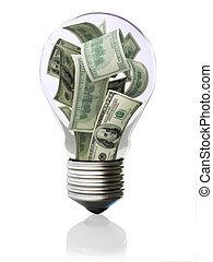 お金, 電球, ライト