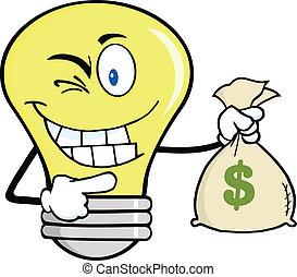 お金, 電球, 袋, 保有物, ライト