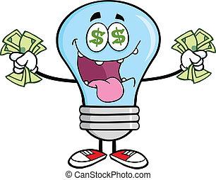 お金, 青, 電球, ライト, 情事