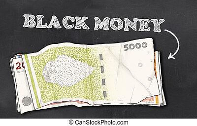 お金, 黒, 黒板