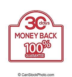 お金, 30, 背中, stock-vector, ラベル, 日, 保証