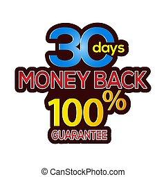 お金, 30, 背中, stock-vector, 保証, 日, アイコン