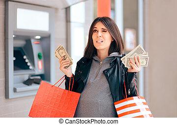 お金, atm, 浪費家, 保有物, 大きい, 前部