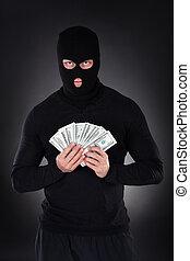 お金, balaclava, 犯罪者, fistful, 保有物