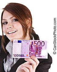 お金, euro., グループ, 女性実業家