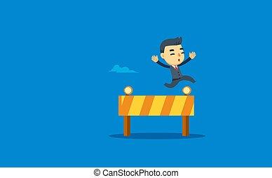 かいば桶, 障害, ビジネスマン, 跳躍
