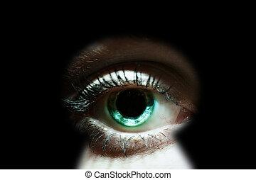 かいま見ること, によって, womans, 鍵穴, 目