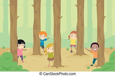 かいま見, 子供, stickman, 森林地帯, 木, イラスト