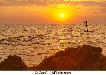かい, 板, 海, 浮く, sunset., 人