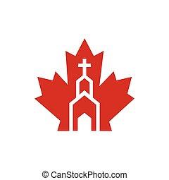 かえで, アイコン, 教会, カナダ, ベクトル, ロゴ, design.