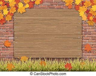 かえで, ブランチ, 木製である, 秋, 印, 壁, れんが