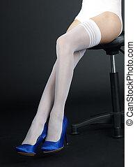 かかと, ストッキング, 足, 女性