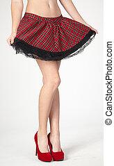 かかと, 足, 女性, スカート