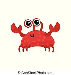 かぎつめ, creature., カニ, 平ら, 葉書, 光沢がある, eyes., モビール, ゲーム, ベクトル, 海, 大きい, 小さい, life., 微笑, 海洋, ∥あるいは∥, 赤