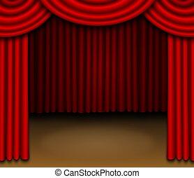 かけられた, カーテン, 赤, ステージ
