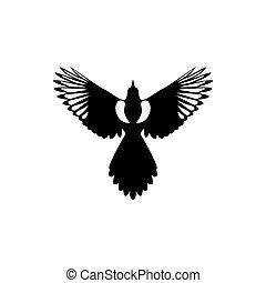 かささぎ, 鳥, ロゴ, アイコン, ベクトル, イラスト