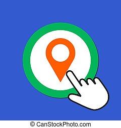 かちりと言う音, カーソル, 目的地, 手, concept., 位置, icon., 地図, ポインター, button., マウス