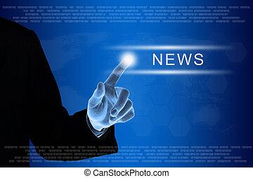 かちりと鳴ること, ビジネス, 感触, ニュース, スクリーン, 手, ボタン
