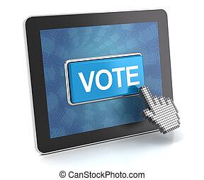 かちりと鳴ること, ∥, 投票, ボタン, 上に, a, デジタルタブレット, 3d, render
