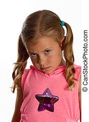 かなり女の子, ∥で∥, a, grumpy, 表現, 上に, 彼女, 顔