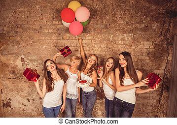 かなり, 幸せ, ケーキ, プレゼント, birthday, 風船, 保有物, 女の子