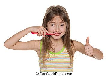 かなり, 若い 女の子, ブラシをかけること, 彼女, 歯