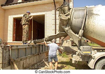 かびなさい, コンクリート, 労働者, 建設, 流れ, 基礎, 注ぎなさい, mixer., サイト, 建物。