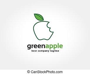 かまれた, アップル, 決め付けること, 抽象的, ベクトル, デザイン, テンプレート, ロゴ, 緑, 企業である, concept., アイコン